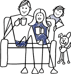 drawing of a family on a couch